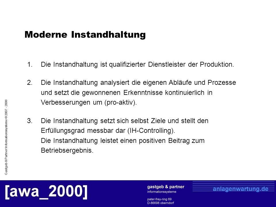 Gastgeb & Partner Informationssysteme © 2007 - 2008 Moderne Instandhaltung 1.Die Instandhaltung ist qualifizierter Dienstleister der Produktion. 2.Die