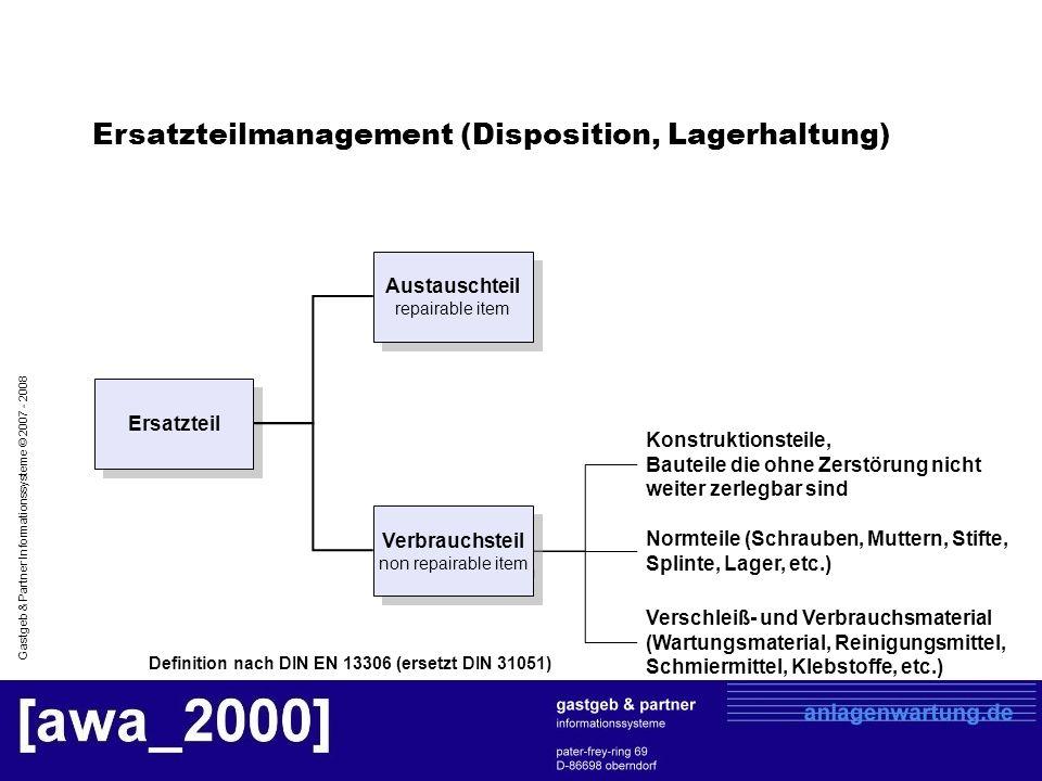 Gastgeb & Partner Informationssysteme © 2007 - 2008 Definition nach DIN EN 13306 (ersetzt DIN 31051) Konstruktionsteile, Bauteile die ohne Zerstörung