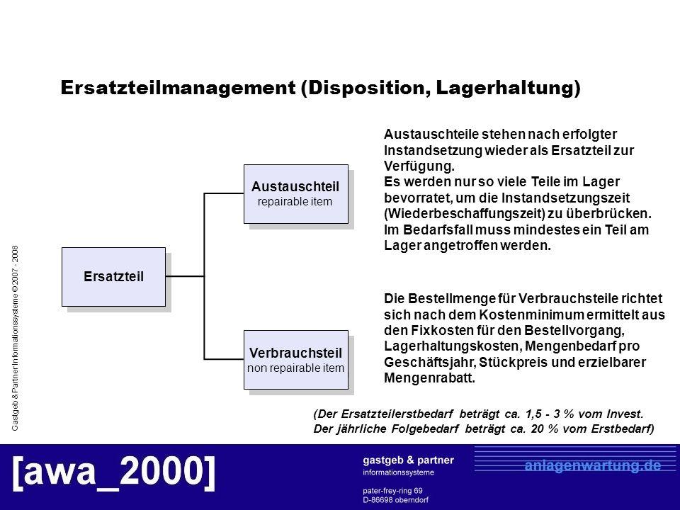 Gastgeb & Partner Informationssysteme © 2007 - 2008 Ersatzteil Austauschteil repairable item Verbrauchsteil non repairable item Die Bestellmenge für V