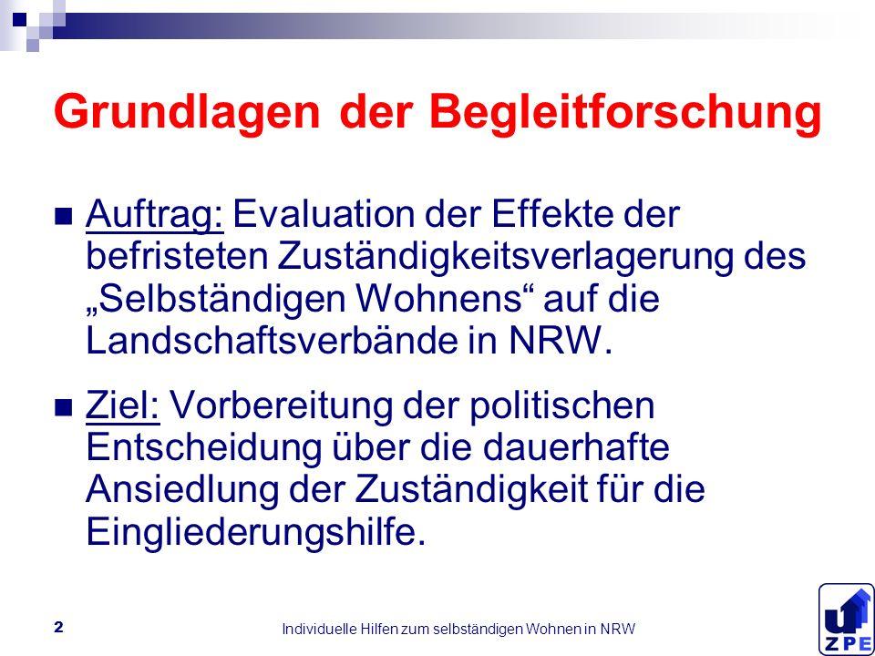 Individuelle Hilfen zum selbständigen Wohnen in NRW 2 Grundlagen der Begleitforschung Auftrag: Evaluation der Effekte der befristeten Zuständigkeitsverlagerung des Selbständigen Wohnens auf die Landschaftsverbände in NRW.