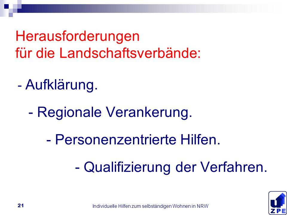 Individuelle Hilfen zum selbständigen Wohnen in NRW 21 Herausforderungen für die Landschaftsverbände: - Aufklärung.