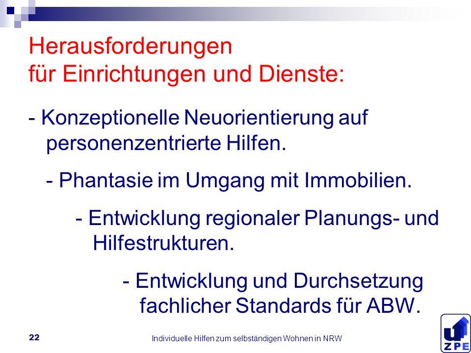 Individuelle Hilfen zum selbständigen Wohnen in NRW 22 Herausforderungen für Einrichtungen und Dienste: - Konzeptionelle Neuorientierung auf personenzentrierte Hilfen.