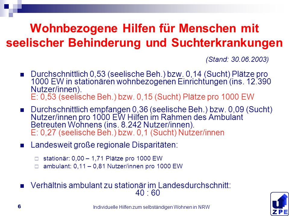 Individuelle Hilfen zum selbständigen Wohnen in NRW 6 Wohnbezogene Hilfen für Menschen mit seelischer Behinderung und Suchterkrankungen Durchschnittlich 0,53 (seelische Beh.) bzw.