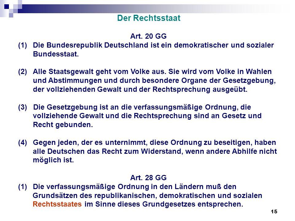 15 Der Rechtsstaat Art. 20 GG (1)Die Bundesrepublik Deutschland ist ein demokratischer und sozialer Bundesstaat. (2) Alle Staatsgewalt geht vom Volke