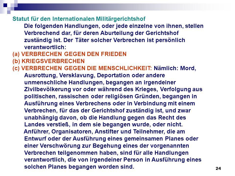 24 Statut für den Internationalen Militärgerichtshof Die folgenden Handlungen, oder jede einzelne von ihnen, stellen Verbrechend dar, für deren Aburte