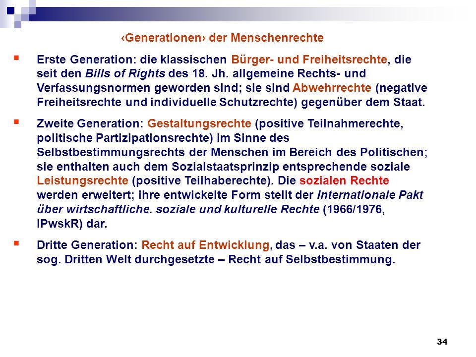 34 Generationen der Menschenrechte Erste Generation: die klassischen Bürger- und Freiheitsrechte, die seit den Bills of Rights des 18. Jh. allgemeine