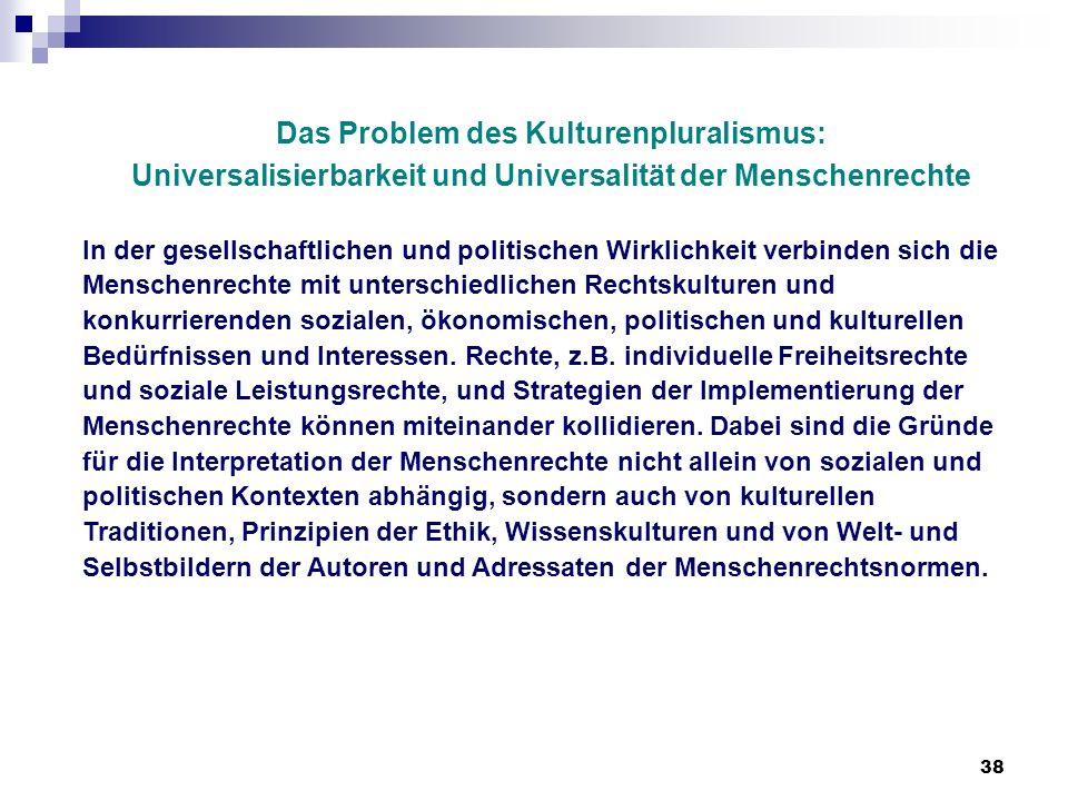 38 Das Problem des Kulturenpluralismus: Universalisierbarkeit und Universalität der Menschenrechte In der gesellschaftlichen und politischen Wirklichk