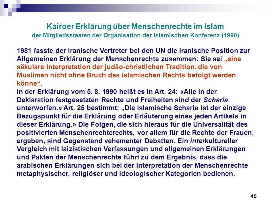 45 Kairoer Erklärung über Menschenrechte im Islam der Mitgliedsstaaten der Organisation der Islamischen Konferenz (1990) 1981 fasste der iranische Ver