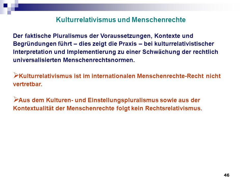 46 Kulturrelativismus und Menschenrechte Der faktische Pluralismus der Voraussetzungen, Kontexte und Begründungen führt – dies zeigt die Praxis – bei