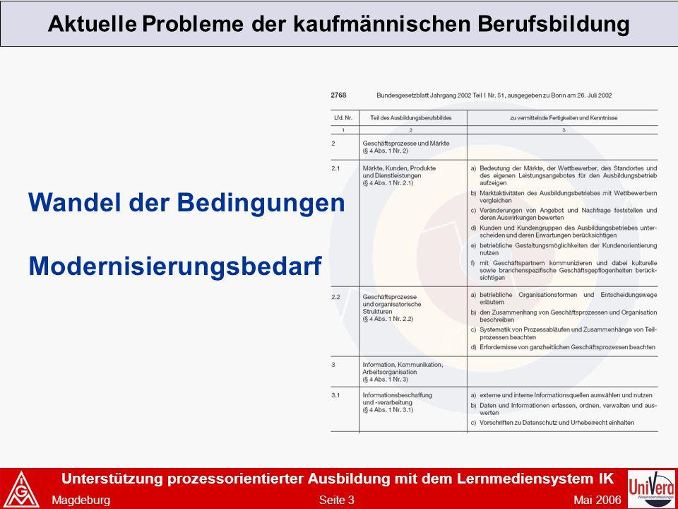 Unterstützung prozessorientierter Ausbildung mit dem Lernmediensystem IK Magdeburg Seite 3 Mai 2006 Aktuelle Probleme der kaufmännischen Berufsbildung Wandel der Bedingungen Modernisierungsbedarf