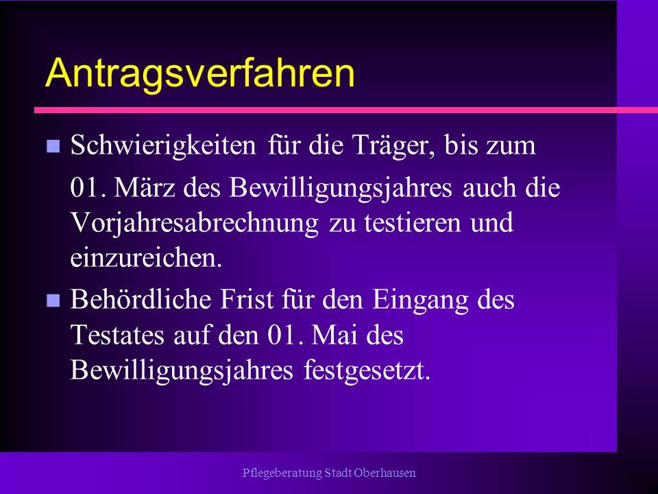 Pflegeberatung Stadt Oberhausen Antragsverfahren n Schwierigkeiten für die Träger, bis zum 01. März des Bewilligungsjahres auch die Vorjahresabrechnun