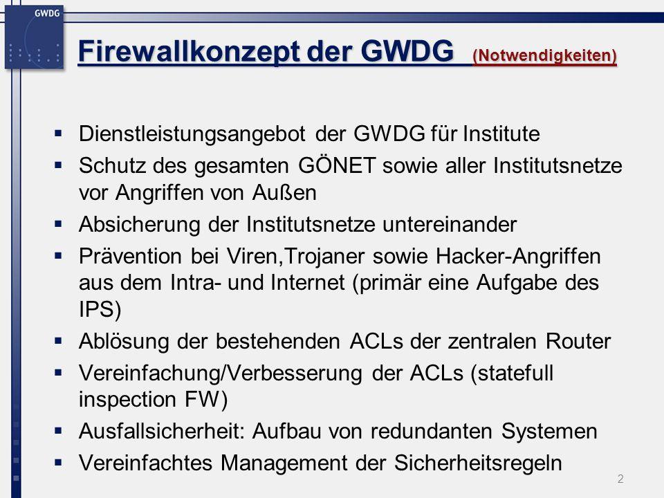 33 Firewallkonzept der GWDG Firewallkonzept der GWDG (Erfahrungen) Erfahrungen: CISCO hat eine etwas andere Sichtweise hinsichtlich Firewall im Vgl.