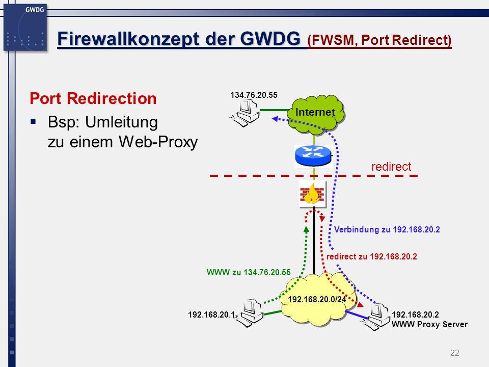 22 Firewallkonzept der GWDG Firewallkonzept der GWDG (FWSM, Port Redirect) Port Redirection Bsp: Umleitung zu einem Web-Proxy Internet 192.168.20.1 19