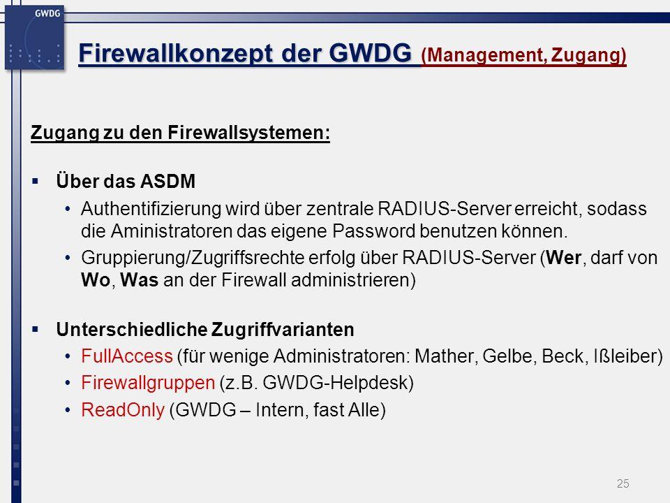 25 Firewallkonzept der GWDG Firewallkonzept der GWDG (Management, Zugang) Zugang zu den Firewallsystemen: Über das ASDM Authentifizierung wird über ze