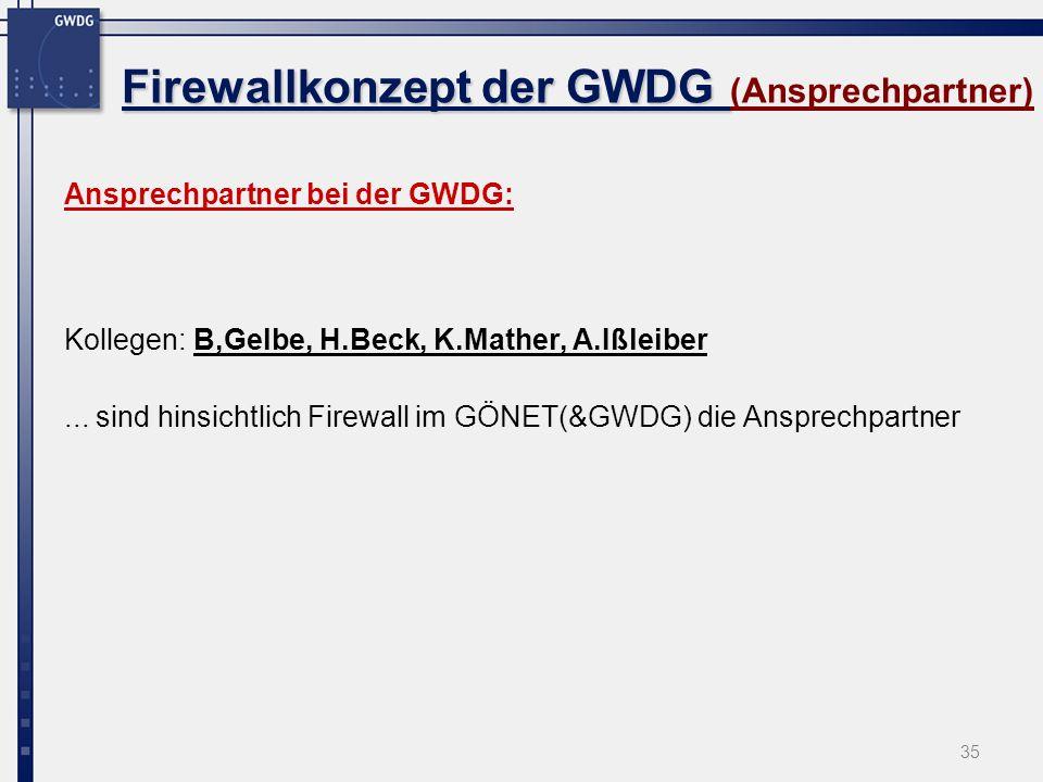 35 Firewallkonzept der GWDG Firewallkonzept der GWDG (Ansprechpartner) Ansprechpartner bei der GWDG: Kollegen: B,Gelbe, H.Beck, K.Mather, A.Ißleiber..