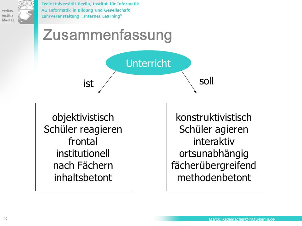 Freie Universität Berlin, Institut für Informatik AG Informatik in Bildung und Gesellschaft Lehrveranstaltung Internet-Learning 19 Marco.Rademacher@in