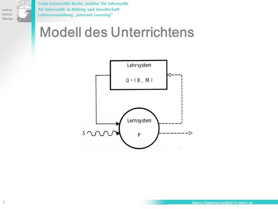Freie Universität Berlin, Institut für Informatik AG Informatik in Bildung und Gesellschaft Lehrveranstaltung Internet-Learning 8 Marco.Rademacher@inf