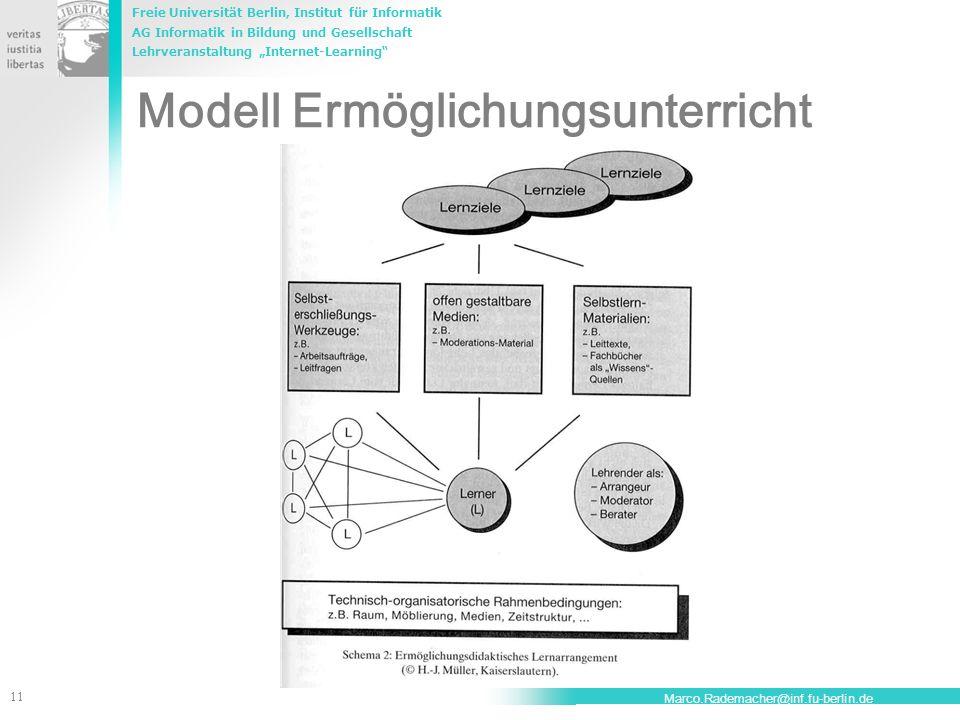 Freie Universität Berlin, Institut für Informatik AG Informatik in Bildung und Gesellschaft Lehrveranstaltung Internet-Learning 11 Marco.Rademacher@in