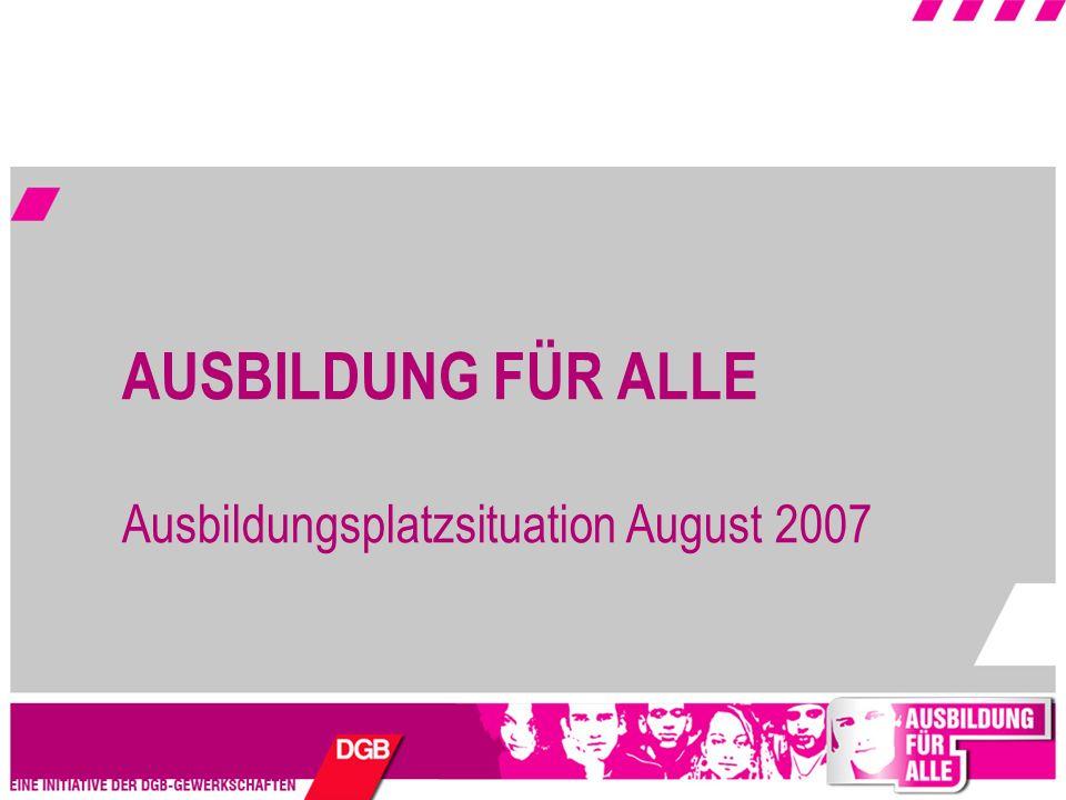 AUSBILDUNG FÜR ALLE Ausbildungsplatzsituation August 2007