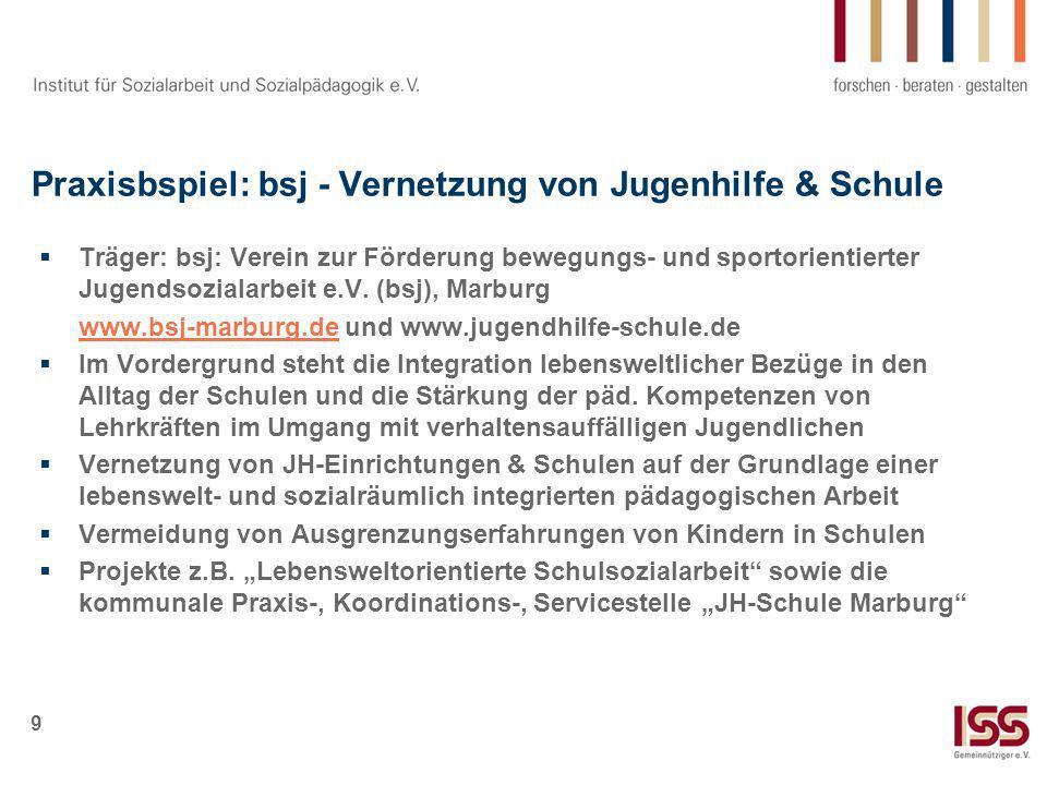 9 Praxisbspiel: bsj - Vernetzung von Jugenhilfe & Schule Träger: bsj: Verein zur Förderung bewegungs- und sportorientierter Jugendsozialarbeit e.V. (b