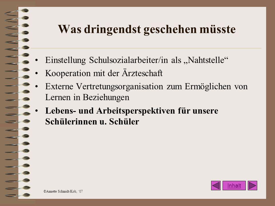 ©Annette Schmidt-Kob, ´07 Was dringendst geschehen müsste Einstellung Schulsozialarbeiter/in als Nahtstelle Kooperation mit der Ärzteschaft Externe Ve