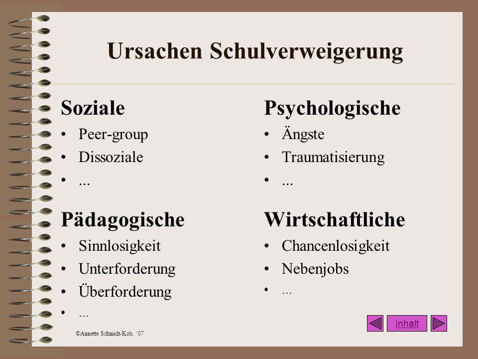 ©Annette Schmidt-Kob, ´07 Ursachen Schulverweigerung Soziale Peer-group Dissoziale... Psychologische Ängste Traumatisierung... Pädagogische Sinnlosigk