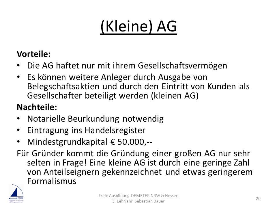 (Kleine) AG Vorteile: Die AG haftet nur mit ihrem Gesellschaftsvermögen Es können weitere Anleger durch Ausgabe von Belegschaftsaktien und durch den E