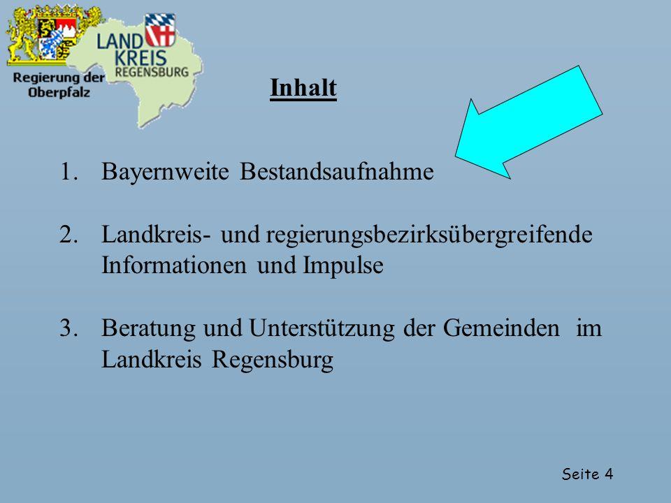 Seite 4 1.Bayernweite Bestandsaufnahme 2.Landkreis- und regierungsbezirksübergreifende Informationen und Impulse 3.Beratung und Unterstützung der Geme