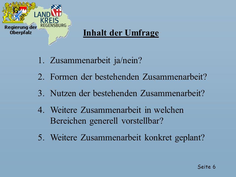 Seite 7 Resonanz der Umfrage 1.Alle bayerischen Landkreise und Gemeinden über LRAs angeschrieben 2.Rücklauf: 651 Gemeinden, 45 Landkreise 3.Gesichtet und in Datenbank erfasst: 651 Gemeinden (Stand: 01.07.2004) entspricht 32 % der bayerischen Gemeinden!