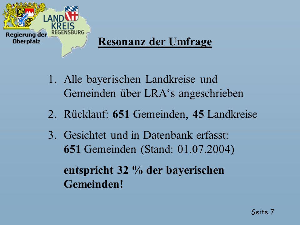 Seite 7 Resonanz der Umfrage 1.Alle bayerischen Landkreise und Gemeinden über LRAs angeschrieben 2.Rücklauf: 651 Gemeinden, 45 Landkreise 3.Gesichtet