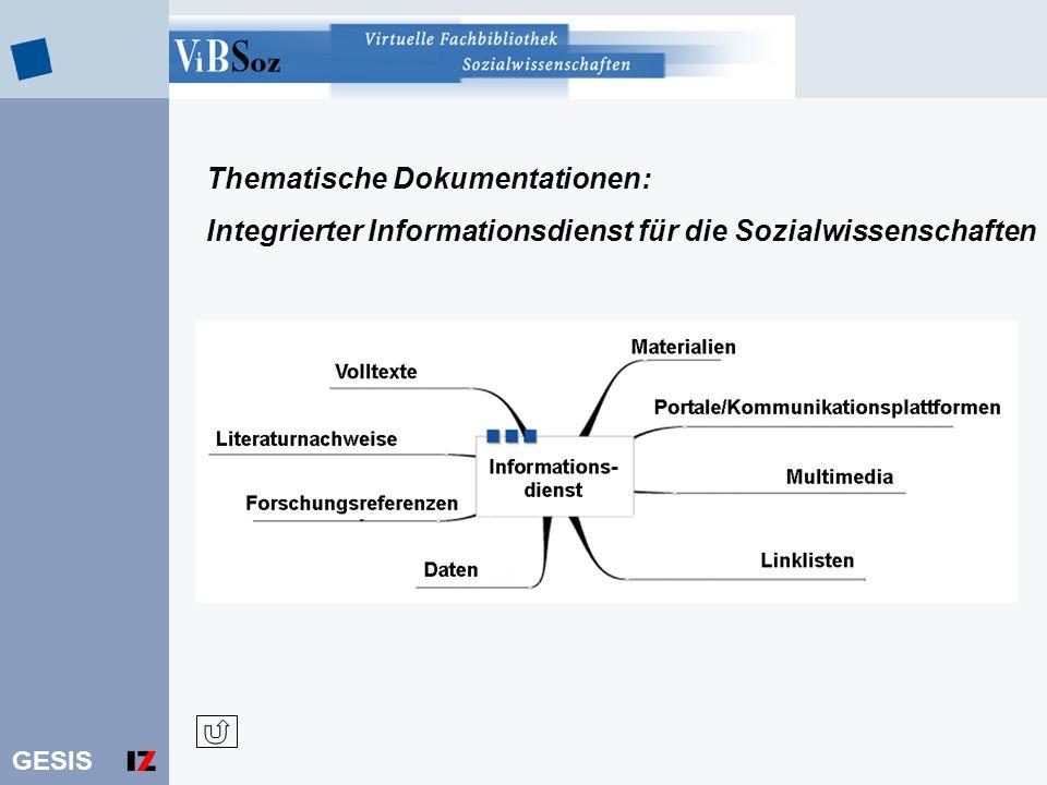 GESIS Thematische Dokumentationen: Integrierter Informationsdienst für die Sozialwissenschaften