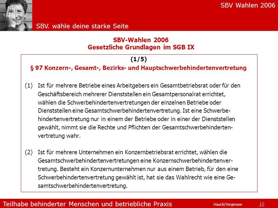 SBV Wahlen 2006 SBV. wähle deine starke Seite Teilhabe behinderter Menschen und betriebliche Praxis Hauch/Stegmann (1/5) § 97 Konzern-, Gesamt-, Bezir