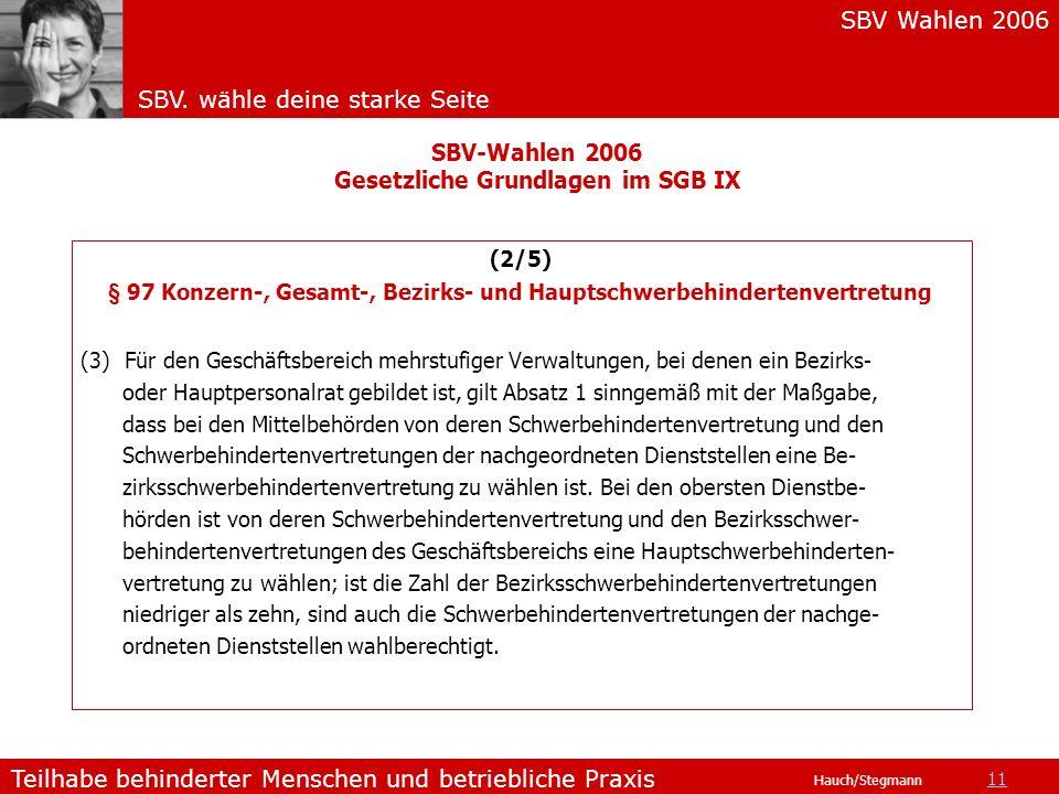 SBV Wahlen 2006 SBV. wähle deine starke Seite Teilhabe behinderter Menschen und betriebliche Praxis Hauch/Stegmann (2/5) § 97 Konzern-, Gesamt-, Bezir