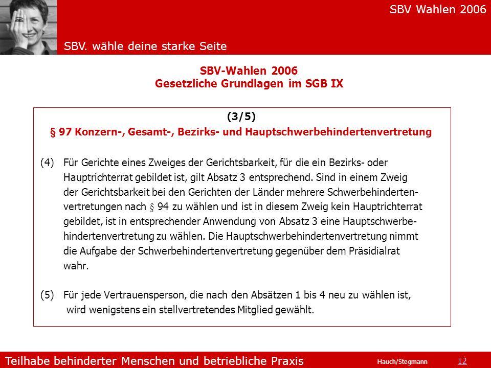 SBV Wahlen 2006 SBV. wähle deine starke Seite Teilhabe behinderter Menschen und betriebliche Praxis Hauch/Stegmann (3/5) § 97 Konzern-, Gesamt-, Bezir