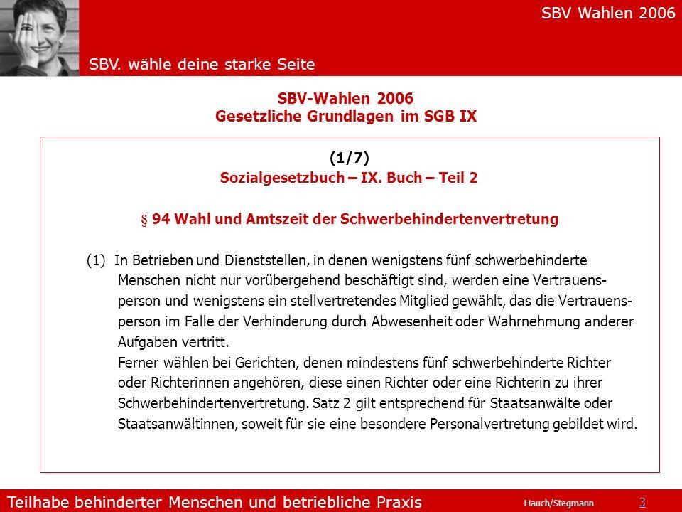 SBV Wahlen 2006 SBV. wähle deine starke Seite Teilhabe behinderter Menschen und betriebliche Praxis Hauch/Stegmann SBV-Wahlen 2006 Gesetzliche Grundla