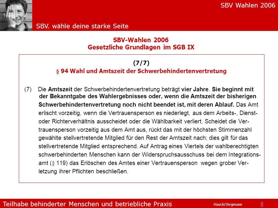 SBV Wahlen 2006 SBV. wähle deine starke Seite Teilhabe behinderter Menschen und betriebliche Praxis Hauch/Stegmann (7/7) § 94 Wahl und Amtszeit der Sc