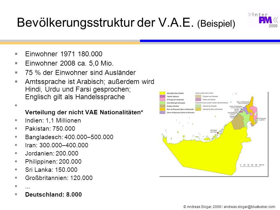 © Andreas Slogar, 2009 / andreas.slogar@bluetusker.com Bevölkerungsstruktur der V.A.E. (Beispiel) Einwohner 1971 180.000 Einwohner 2008 ca. 5,0 Mio. 7
