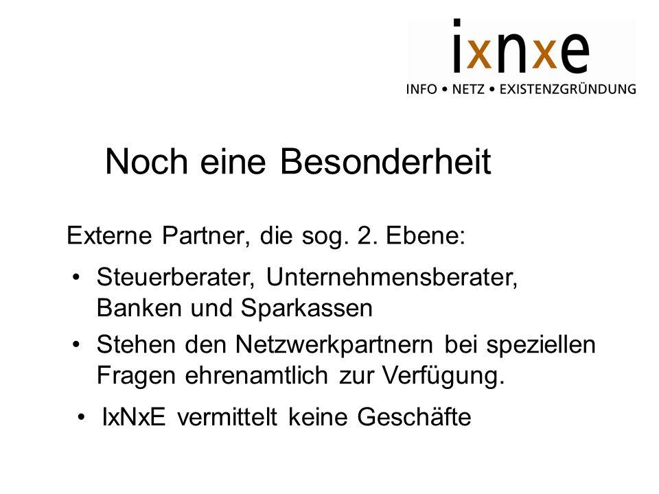 Noch eine Besonderheit Externe Partner, die sog. 2. Ebene: Steuerberater, Unternehmensberater, Banken und Sparkassen Stehen den Netzwerkpartnern bei s