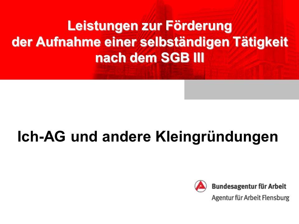 Leistungen zur Förderung der Aufnahme einer selbständigen Tätigkeit nach dem SGB III Ich-AG und andere Kleingründungen