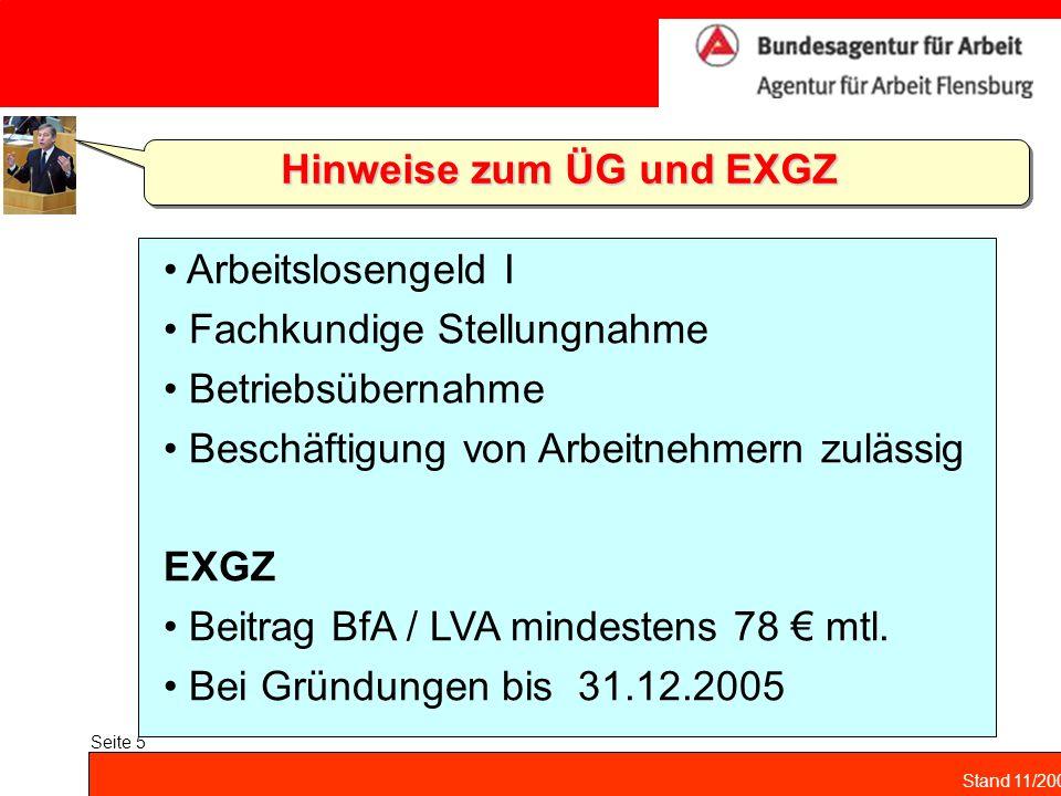 Stand 11/2004 Seite 5 Hinweise zum ÜG und EXGZ Arbeitslosengeld I Fachkundige Stellungnahme Betriebsübernahme Beschäftigung von Arbeitnehmern zulässig