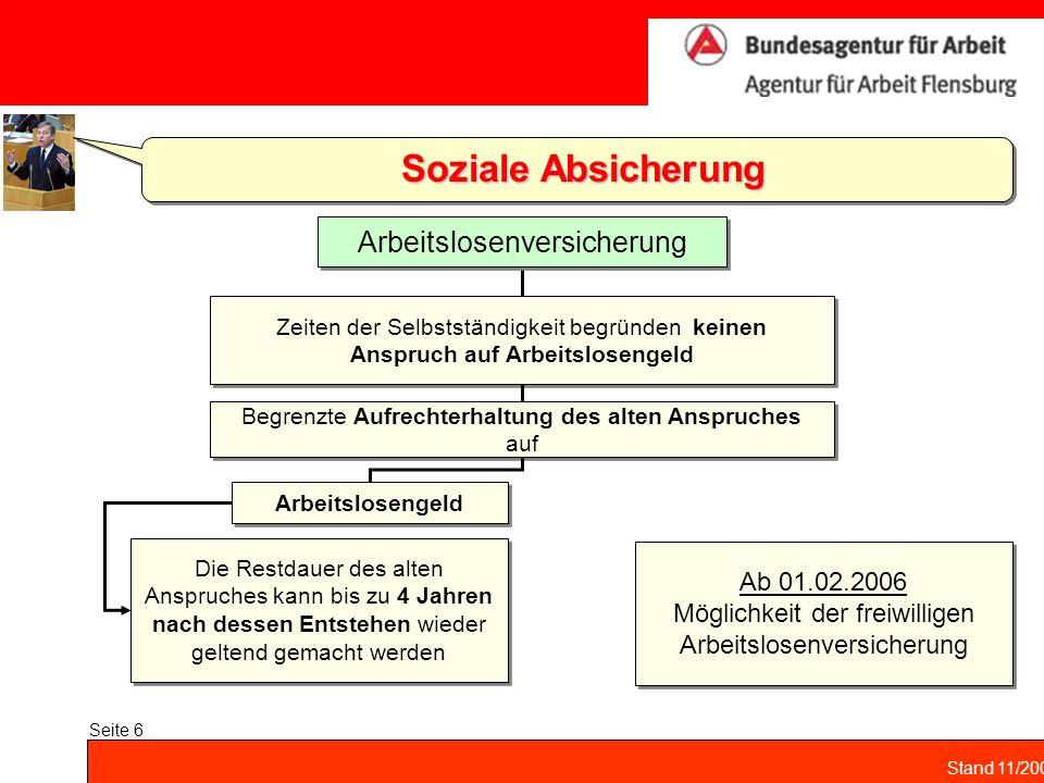 Stand 11/2004 Seite 6 Soziale Absicherung Zeiten der Selbstständigkeit begründen keinen Anspruch auf Arbeitslosengeld Arbeitslosenversicherung Begrenz