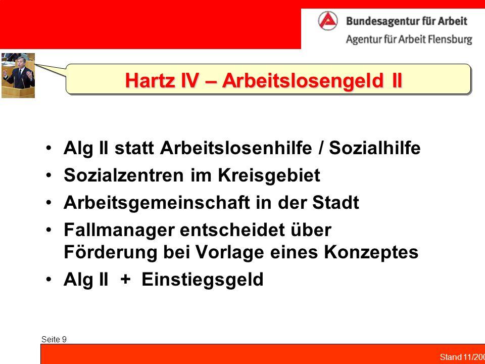 Stand 11/2004 Seite 9 Hartz IV – Arbeitslosengeld II Alg II statt Arbeitslosenhilfe / Sozialhilfe Sozialzentren im Kreisgebiet Arbeitsgemeinschaft in