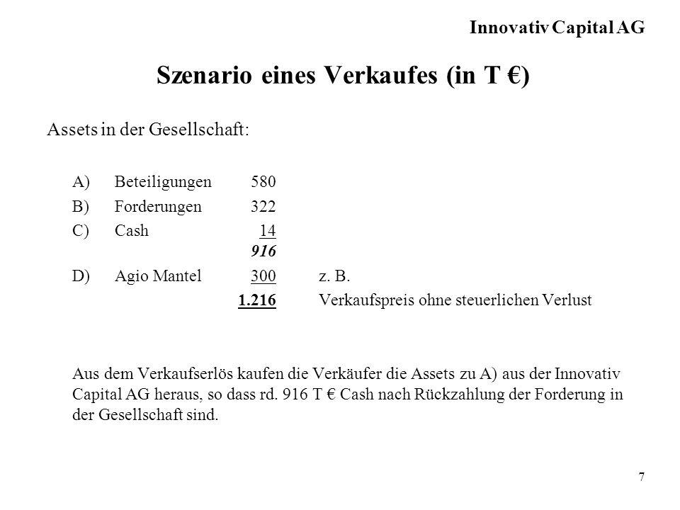 7 Szenario eines Verkaufes (in T ) Assets in der Gesellschaft: A)Beteiligungen580 B)Forderungen322 C)Cash 14 916 D)Agio Mantel300z.