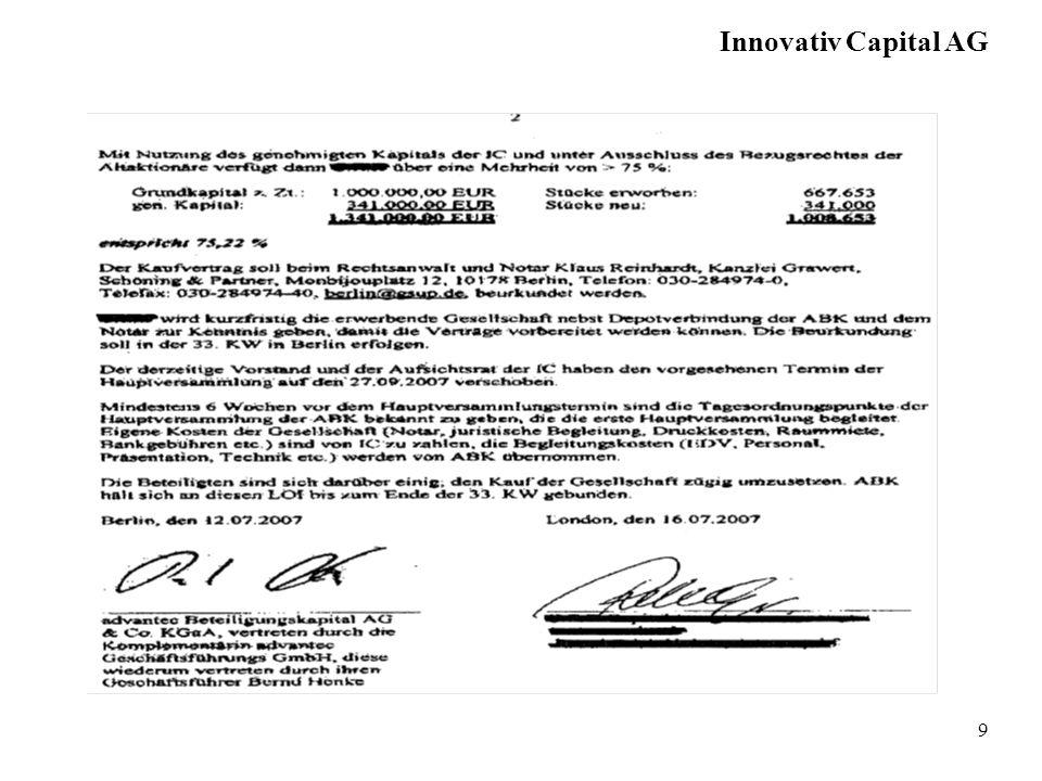 10 Hauptversammlung der Innovativ Capital AG am 27.10.2007