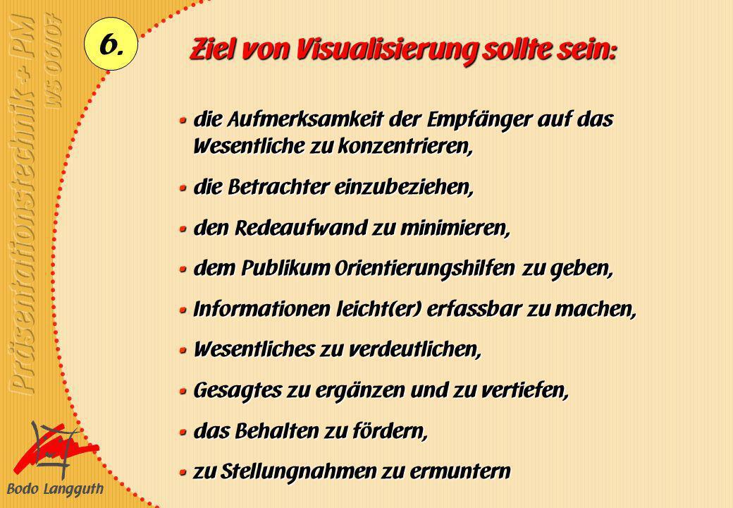 Bodo Langguth 6. Ziel von Visualisierung sollte sein: die Aufmerksamkeit der Empfänger auf das Wesentliche zu konzentrieren, die Aufmerksamkeit der Em