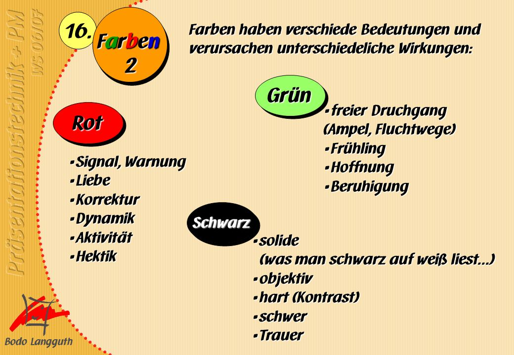 Bodo Langguth 16. FarbenFarbenFarbenFarben Farben haben verschiede Bedeutungen und verursachen unterschiedeliche Wirkungen: Signal, Warnung Signal, Wa