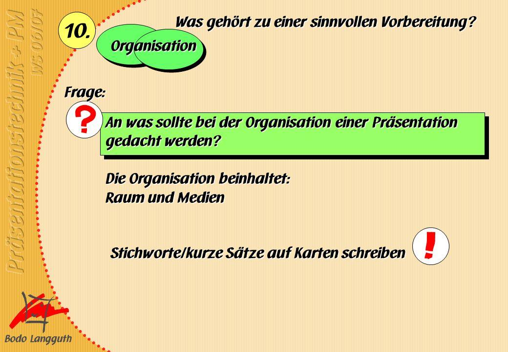Bodo Langguth 10. An was sollte bei der Organisation einer Präsentation gedacht werden? Die Organisation beinhaltet: Raum und Medien Was gehört zu ein