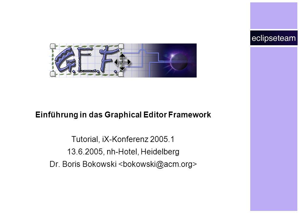 Einführung in das Graphical Editor Framework Tutorial, iX-Konferenz 2005.1 13.6.2005, nh-Hotel, Heidelberg Dr. Boris Bokowski