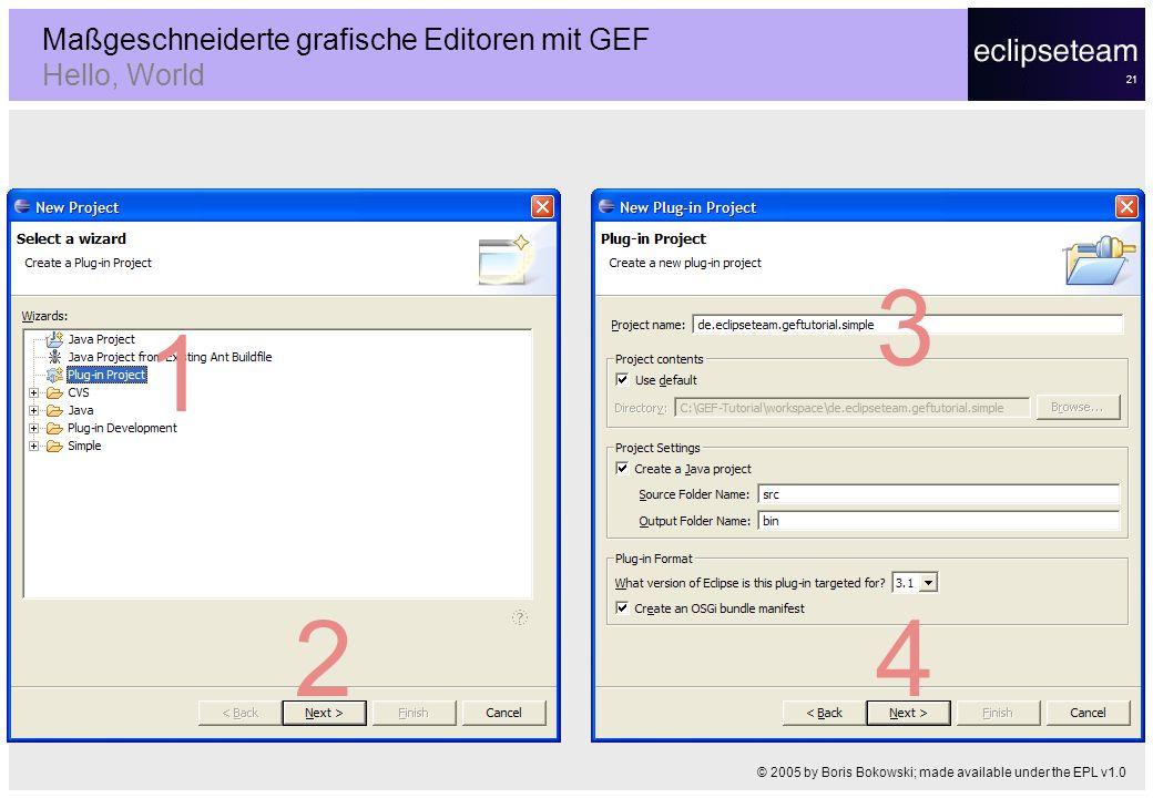 21 Maßgeschneiderte grafische Editoren mit GEF Hello, World © 2005 by Boris Bokowski; made available under the EPL v1.0 1 2 3 4