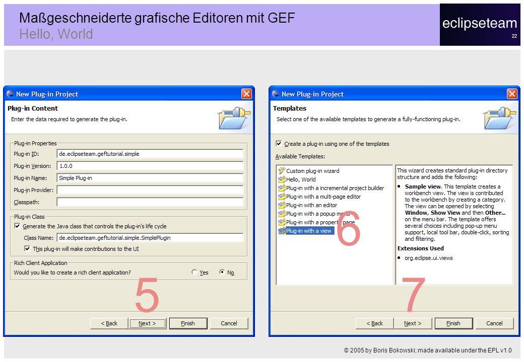 22 Maßgeschneiderte grafische Editoren mit GEF Hello, World © 2005 by Boris Bokowski; made available under the EPL v1.0 5 6 7